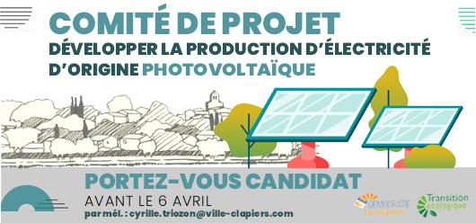 Création du comité de projet sur la production d'électricité d'origine photovoltaïque